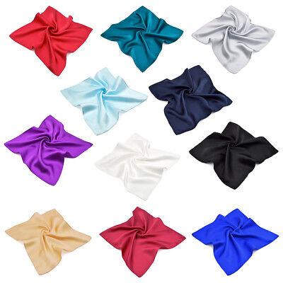 Premium 100% Pure Silk Solid Pocket Square Handkerchief Scarf 13.5