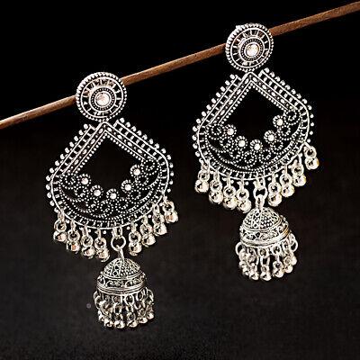 Indian Women Boho Silver Ancient Bells Tassel Beads Drop Ethnic Earrings Jewelry