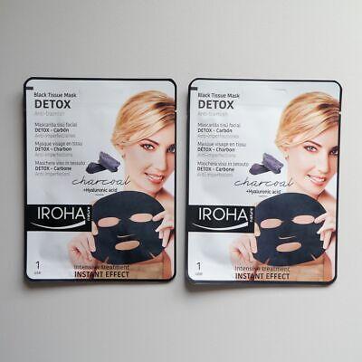 2 x IROHA NATURE Black Tissue Mask Detox Anti-blemish (Charcoal,Hyaluronic acid)