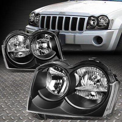 For 2005 2007 Jeep Grand Cherokee Pair Black Housing Clear Side Headlight Lamp Online