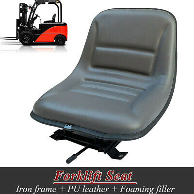 Universal Forklift Seat W Sliding Tracks Iron Frame Pu Leather Foaming Filler