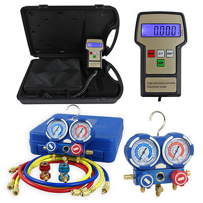 AC Manifold Gauge Set R134a/R22 W/ Digital Electronic Refrigerant Charging Scale Business & Industrial
