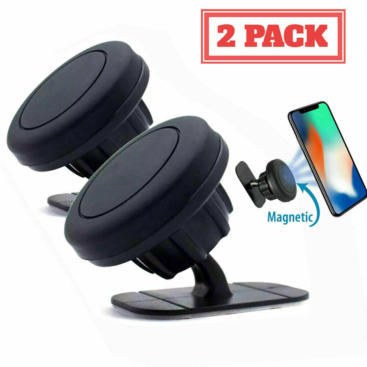 Magnetic 360° Gear Car Phone Holder Dashboard Rotation With Mounting Plate Mount Cell Phone Accessories