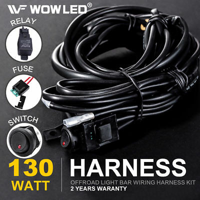 Wiring Harness Switch Relay Kit for Connect 2 LED Work Driving Light Bar 4WD (Light Switch Relay)