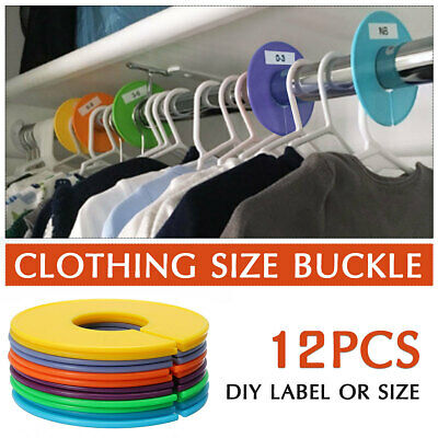 12pcs Clothing Blank Size Rack Ring Closet Divider Hanger Organizer Colors Round