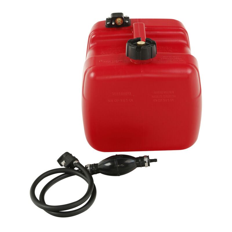 12L Portable Outboard Boat Marine Fuel Gas Tank w/ male Connector + Fuel Line