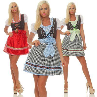 311223 Damen Dirndl Trachtenkleid 3 tlg. Kleid Minibluse Schürze Oktoberfest