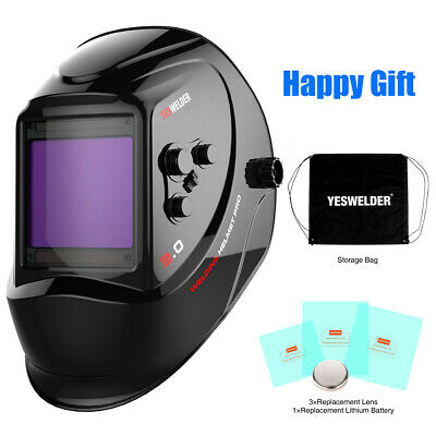 Large View Screen Welding Helmet Pro Solar Auto Darkening Weld Mask True Color