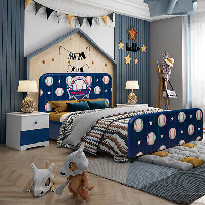 Kids Children Upholstered Platform Toddler Bed Bedroom Furniture Ball Pattern