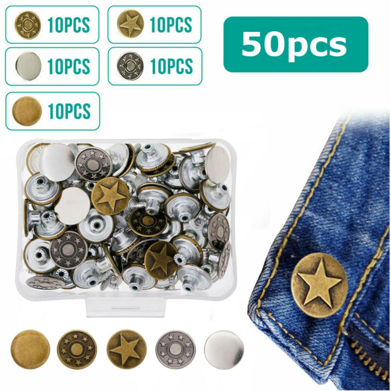 Jeans Button 50 Sets Metal Tack Buttons Replacement Kit Repa