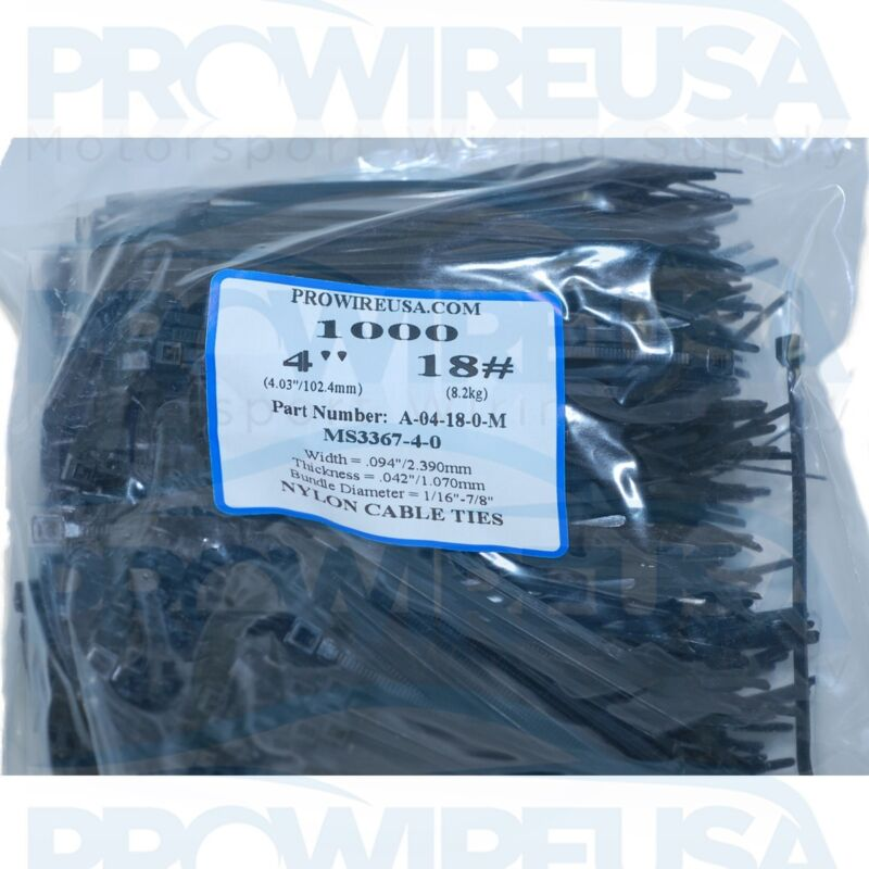 """4"""" Cable Ties Black UV 18 # 1000 Pieces !!!MADE IN USA!!! MS3367-4-0 Nylon Ties"""