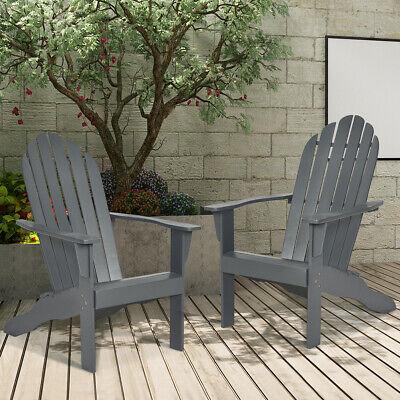 Garden Furniture - 2PC Outdoor Adirondack Chair Solid Wood Durable Patio Garden Deck Furniture Gray