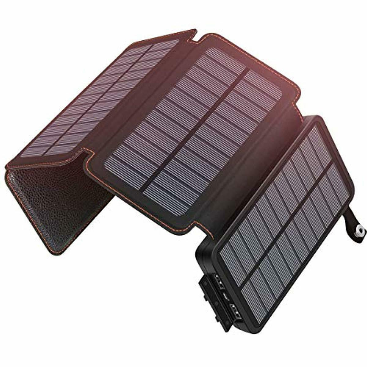 SOARAISE Solar Charger 25000mAh Portable Power Bank with 2 U