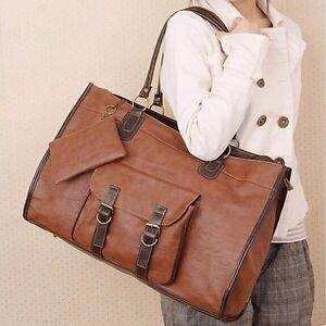 Large Women Designer Leather Handbag Shoulder Messenger Bag Weekend Tote Shopper