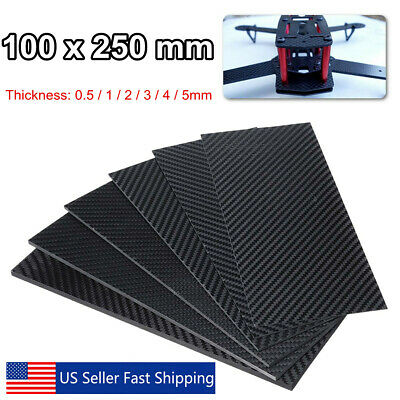 100x250x(0.5-5)mm Black Carbon Fiber Plate Panel Sheet Board Matte Twill (Carbon Fibre Sheet)