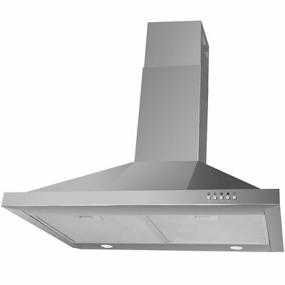 "30"" Stainless Steel Push Control Wall Mount Range Hood Vent Fan w/ Led Light"