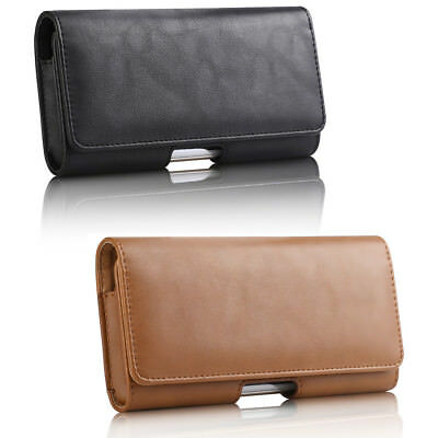 Cellphone Horizontal Genuine Leather Carrying Pouch Case Cover Belt Loop (Cellular Phone Leather Carrying Case)