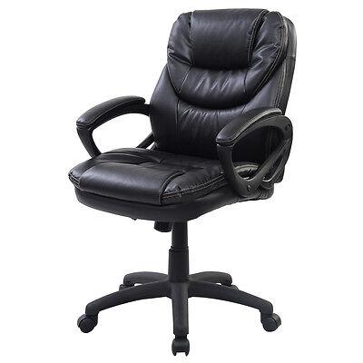 PU Leather Ergonomic Mid Back Executive Computer Desk Task Office Chair Black on Rummage