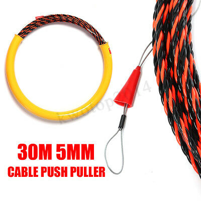 Long Fish Tape - 650KG 30M 5mm Long Cable Push Puller Rodder Conduit Snake Fish Tape Tested Wire