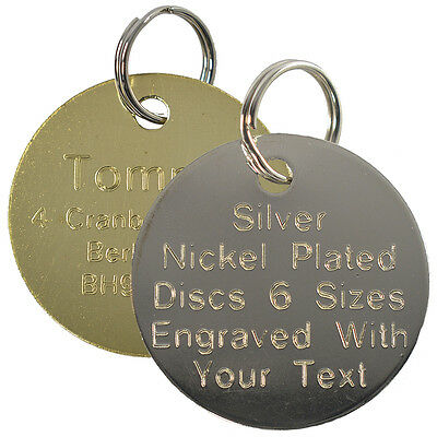 Pet Cat Dog ID Tag Brass Silver Collar Tags Name Disc Engraved Round Large Small