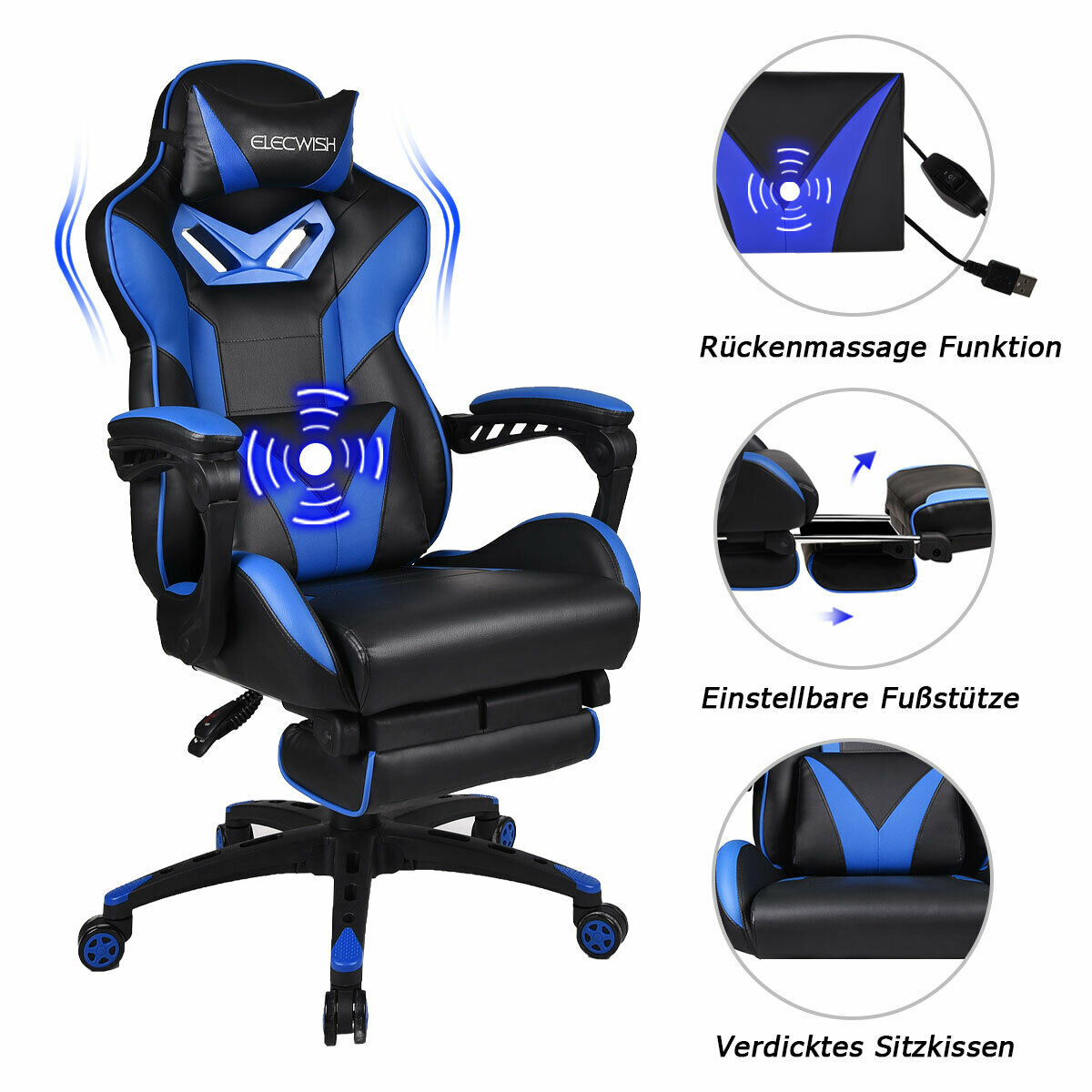 Massage Gaming Bürostuhl Schreibtischstuhl Drehstuhl Chefsessel Fußstütze 150Kg