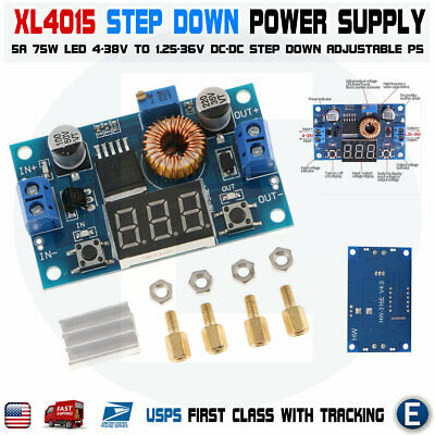 Xl4015 5a High Power Supply 75w Dc-dc Adjustable Step-down Moduleled Voltmeter