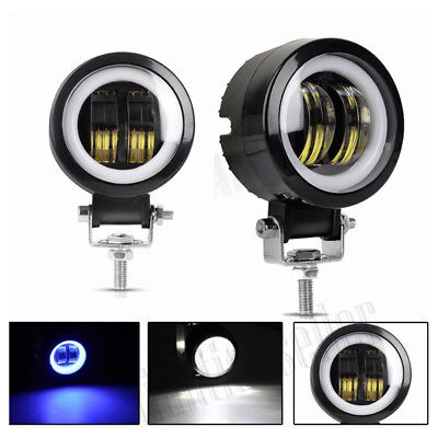 SPOT BEAM ROUND CREE LED ANGLE EYES LED DRIVING SPOT FOG LIGHTS BAR W