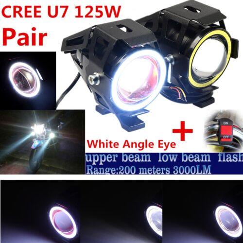 2PCS CREE U7 Motorcycle high/low/flash 3 lighting modes Spot Lamp DRL Fog light