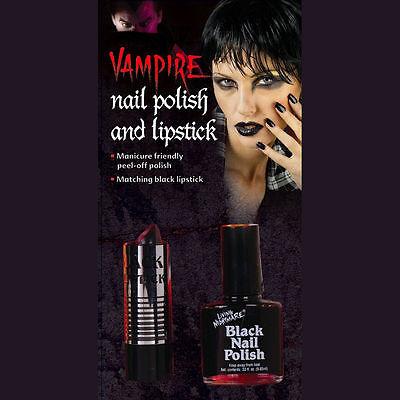 Goth Black Lipstick and Nail Polish Set Zombie Vampire Halloween - Female Vampire Halloween Makeup