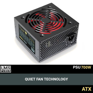 LMS Data 700W ATX PC Computer Power Supply PSU 6-PIN PCI-E 12CM Quiet Red Fan