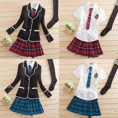 NEW Japanese School Girl Cute Sailor Uniform Dress Set Cosplay Costume skirt  (Cute School Girl Costume)