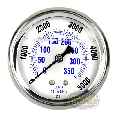 Liquid Filled 5000 Psi Air Pressure Gauge W 2.5 Face Back Mount 14 Npt