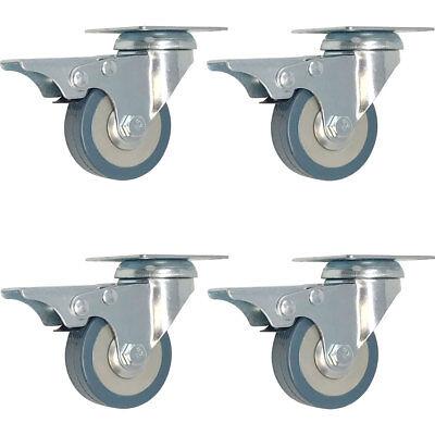 Pack Of 4 - 2 Swivel Pu Plate Caster Total Lock Brake