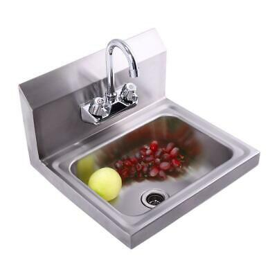 New 17 Kitchen Wall Mount Kitchen Hand Wash Sink Stainless Steel With Faucet