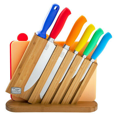 9pc Chicago Cutlery Chef Knife Set Kinzie Colors Block Sharpener Cutting Boards