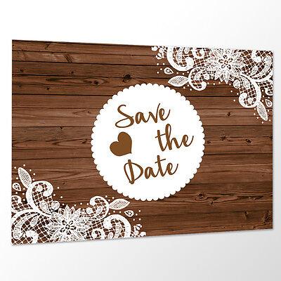 10 x Save the Date Karte 'Vintage Holz' Spitze Hochzeit Vorankündigung Postkarte ()