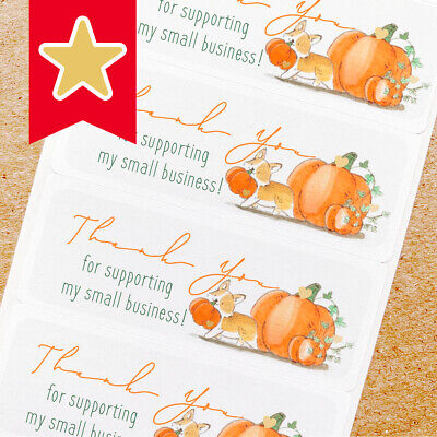 Thank You Labels Stickers For Online Shop Sellers 100ct - Corgi Dog Pumpkin