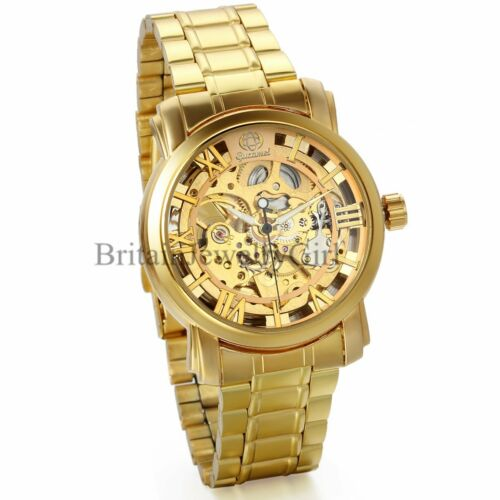 $21.99 - Luxury Gold Tone Skeleton Automatic Mechanical Stainless Steel Men's Wrist Watch