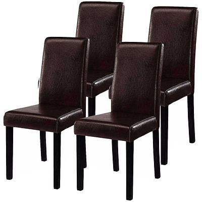 Set of 4 Fashionable Design Leather Contemporary Dining Chairs Home Room