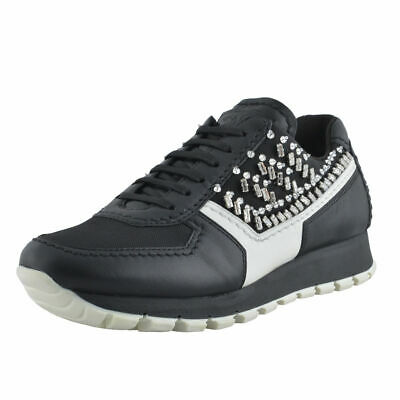 Prada Leather Beads Decorated Fashion Sneakers Shoes Sz 5 5.5 6 6.5 7 - Beads Sneakers Shoes