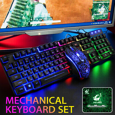 Mechanical Gaming Keyboard Mouse Pad Set LED Backlit For Com
