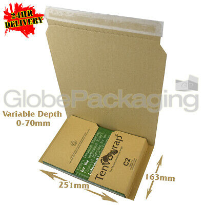 20 x C2 BOOK WRAP MAILER POSTAL BOXES 251x163x70mm - 100% RECYCLABLE