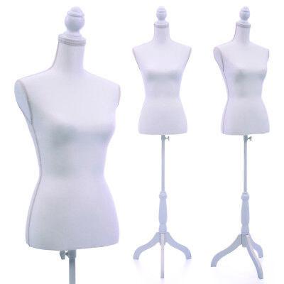 White Female Mannequin Torso Clothing Display W/ White Tripod Stand New