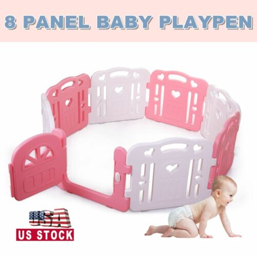Baby Playpen Baby Play Yards Fence 8 Panel Activity Center Safety Play Yard Pink