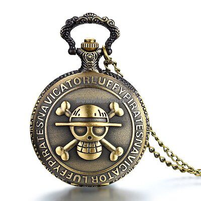 Vintage One Piece Skull & Crossbones Pocket Watch Pendant Necklace w Long Chain ()