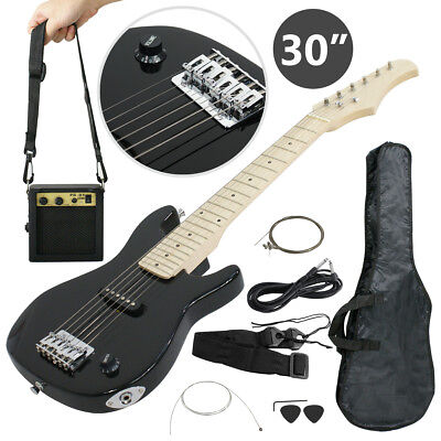 "30"" Black Electric Guitar + 5 Watt Amp + Gig Bag Case + Guitar Strap Beginners"