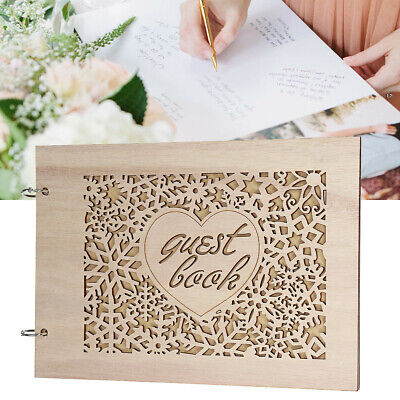 Personalised Wedding Guest Book Scrapbook Album Wooden w/ Feather Pen Box