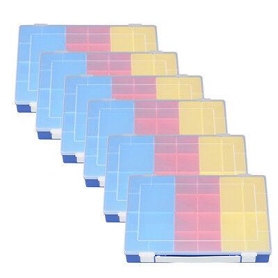 6x Sortimentskasten m. 14 Einsatzboxen & Griff PP Kleinteile Box 6er Set Boxen