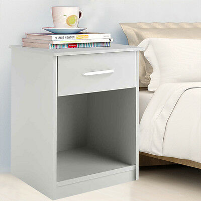 منضدة جانب السرير جديد COSTWAY White Night Stand Bedroom Stand Bedside Furniture Drawer Sturdy Storage