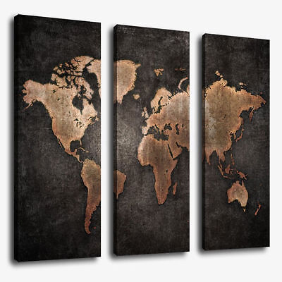 3 Pcs/Set World Map Modern Abstract Canvas Picture Print Wall Art Home Decor for sale  Shipping to Canada